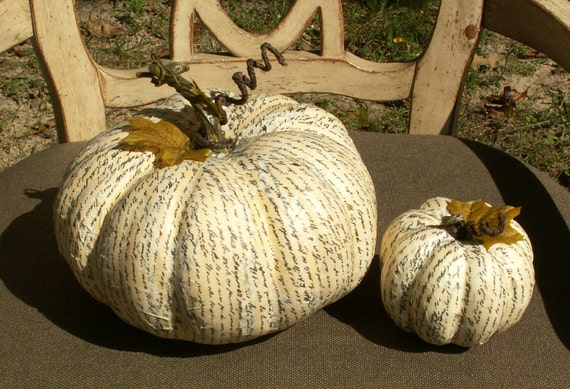 Cream paper mache pumpkins set of thanksgiving decor