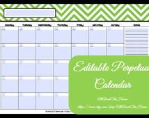 EDITABLE Printable Calendar-Perpetual Calendar-Chevron Calendar-2013-2014 Calendar-AnyYearCalendar-Meal Planner-Family Calendar-Style2