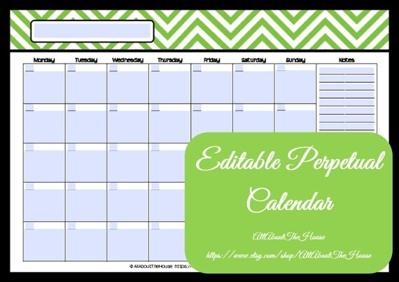 Editable Meal Planner Calendar : Editable printable calendar perpetual chevron