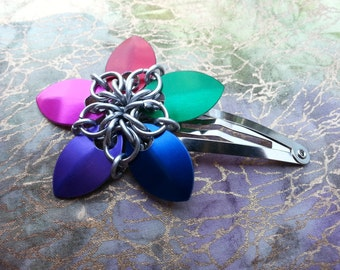 Rainbow Scalemail Barrette MADE TO ORDER