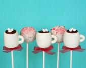 12 Peppermint Mocha Cake Pops Set of 12- for Christmas or winter party favors, hostess or teacher gift, Santa