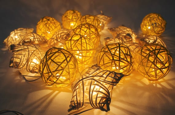 Star Moon String Lights : Moon Star Rattan Ball String Lights by Pattrawan on Etsy