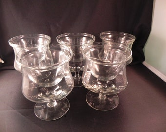 Vintage Goblets Five Ribbed  With Ice Liners for Cold Serving