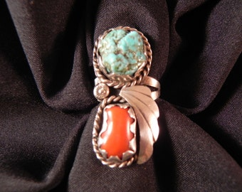 Vintage Ring Native American Indian  Silver Leaf Turquoise & Coral Scalloped BezelSettings  Sz. 7