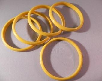 Vintage Bangle Bracelets  Five Yellow  Lucite