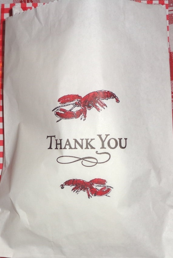 Red Lobster Party Favor Bags Glassine Wax Paper 5.75 x8