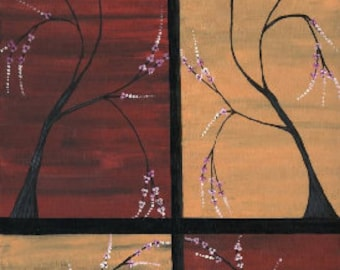 Abstract Modern Asian Zen Tree II Landscape Painting Original Art by Manu 12x16