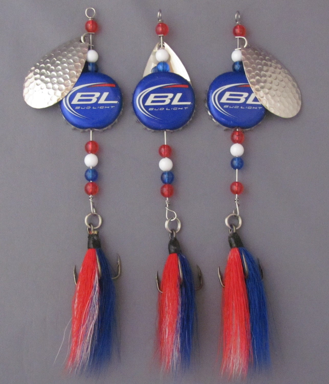 Beer cap fishing lures set of three spinners with bucktail for Bottle cap fishing lure