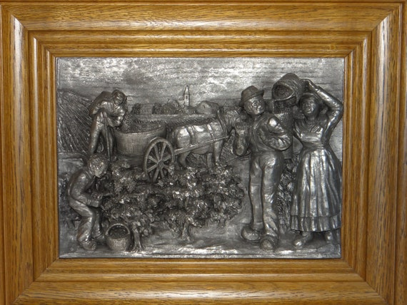 zinn relief handarbeit 3d farmers tin picture with original frame 12x15 rare find in america