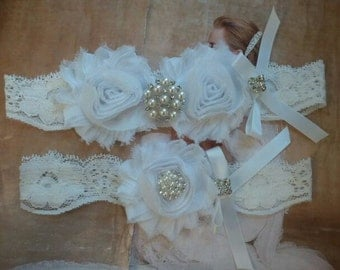 Wedding Garter, Bridal Garter - White Garter set with Pearl & Rhinestone - Style G2503