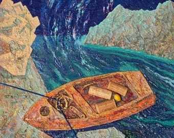 Old Boat painting, oil, found objects, assemblage on canvas