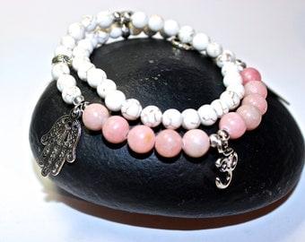 Yoga Bracelet - Silver Ohm Charm, meditation bracelet, Mala Beads Bracelet, Boho Spiritual Jewelry, Zen Jewelry