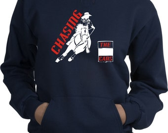 Barrel Racing Chasing the Cans Horse and Rider Navy Blue Hooded Sweatshirt