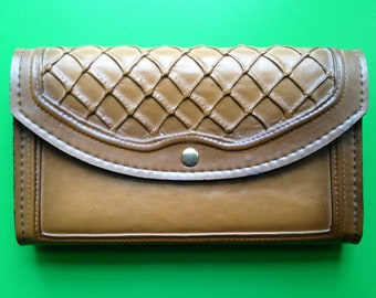 Vintage Leather and Suede Clutch Wallet w/ Lattice Design c. 1970s