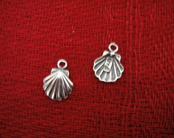 925 sterling silver  oxidized sea shell charm 1PC