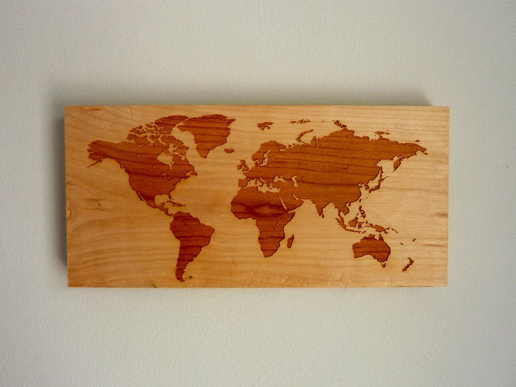 World Map Modern Wall Hanging Rustic Wooden by RichwoodCreations