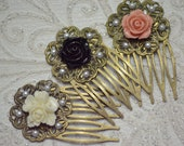 Vintage Victorian Style Filigree Hair Comb Flower Setting Variation Pink/ black/ white prom  Parties