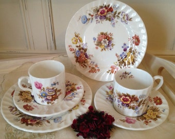 Vintage Aynsley Summertime Coffee Can / Demitasse espresso cup, saucer and side plate.