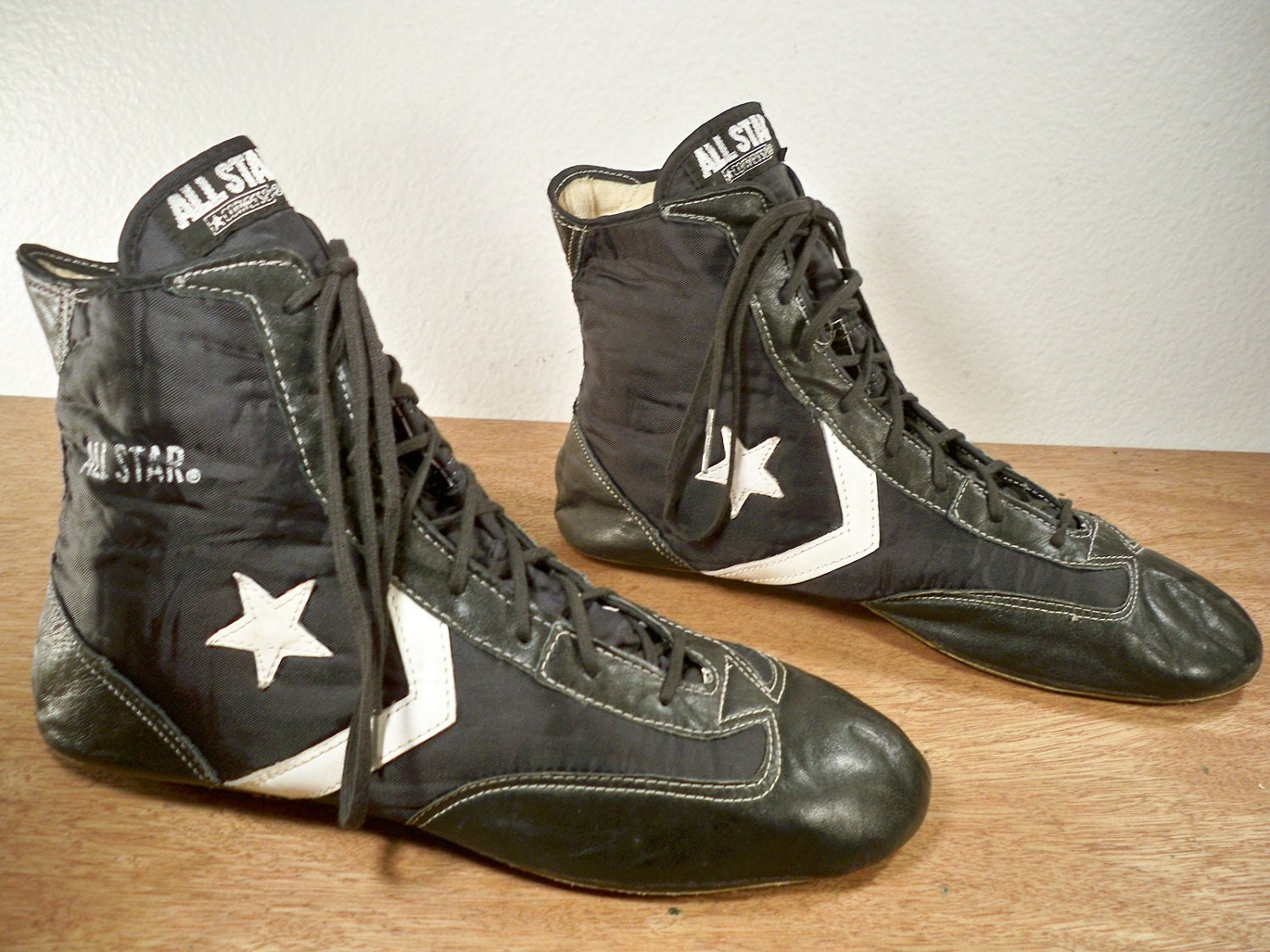 Vintage CONVERSE ALL STAR High Top Black Leather Boxing