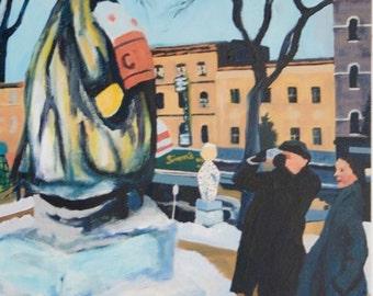 Retro Ice Sculpture Oil Painting