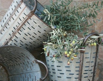 3 quantities of Rustic Olive and grape bucket basket..Excellent condition..