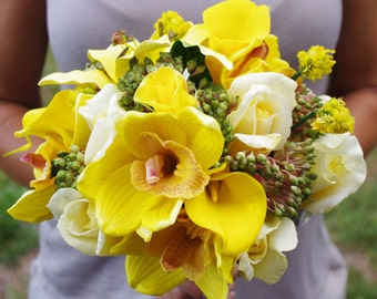 Wedding Natural Touch Yellow Callas, Orchids and Roses Silk Flower Bride Bouquet - Almost Fresh