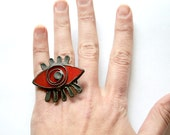 Evil Eye Ring, Red Eye Statement ring, Cocktail Ring, Adjustable Ring, Contemporary Jewelry, Artisan Gift