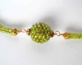 bead woven jewelry necklaces herringbone seed bead green necklace