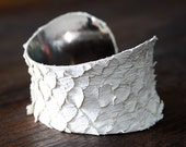 White Fish Skin Leather Cuff Bracelet on a Silver Rounded Edge - Feels Luxurious on Your Wrist - Size Large