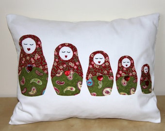 Handmade Cushion with Russian Doll Applique