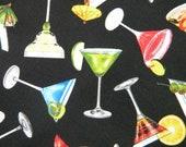 Happy Hour fabric--drinks on black--by the yard--Elizabeth's Studio