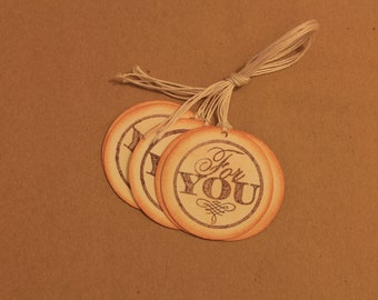 """Round """"For You"""" gift tags, set of 6"""