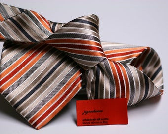 Silk Tie in Stripes with Black, Beige, Orange