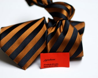 Silk Tie in Stripes with Black and Brown