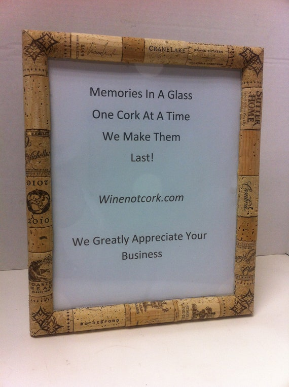 Handmade glass wine cork 8 by 10 Picture frame by WineNotCork