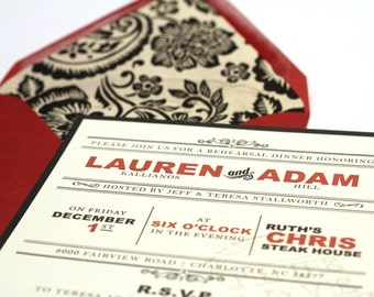 Custom Rehearsal Dinner Invitations // Classy and Elegant // Purchase this Deposit Listing to Get Started