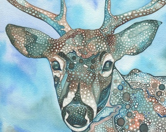 Whimsical Deer 5 x 7 print of hand painted detailed watercolour artwork in beautiful turquoise blue psychedelic earth tones