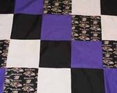 """Ravens Lap Quilt-9"""" patchwork squares with Fleece back"""