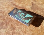 Solid Sterling Silver Money Clip that is inlaid with Turquoise