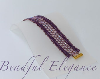 Purple Empress Swarofski Crystal Woven Beaded Bracelet Wedding Accessory Accent