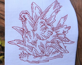 Red Hen on Nest Cotton Huck Toowel Kitchen Towel Tea Towel