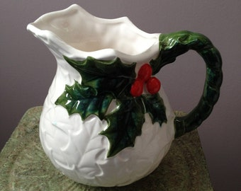 Vintage White Pitcher with Holly by Lefton