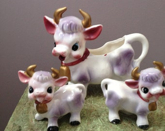 Vintage Cow Creamer with Baby Cow Salt and Pepper Shakers