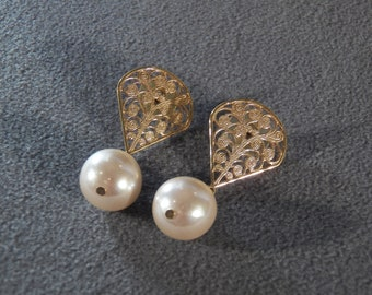 Vintage Yellow Gold Tone Bold Scrolled Filigree Large  Faux Pearl Dangle Pierced Earrings