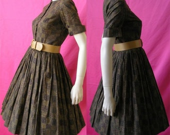 Vintage 50s 60s Brown Print Rockabilly Swing Day Dress