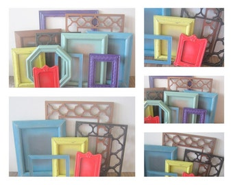 Moroccan Set of Photo Frames, Boho Chic Wall Collage, 5 Frames, Glass and Backs
