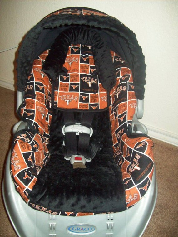 items similar to baby car seat cover made with texas longhorns fabric on etsy. Black Bedroom Furniture Sets. Home Design Ideas