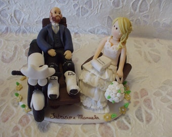 Customized psychologist bride and lover motorcycle groom wedding cake topper