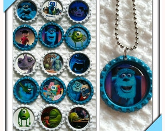 Monsters Inc.  Bottle Cap Necklaces
