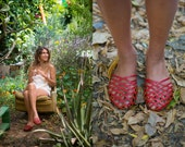 Hand Made Leather Sandal- Red Criss-Cross